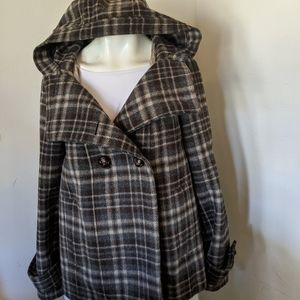 Zara Basic double breasted Plaid Wool Coat L